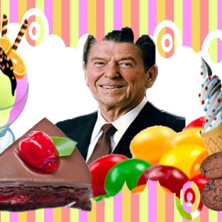 Ronald Reagan with Chocolates, Ice creams and Candies