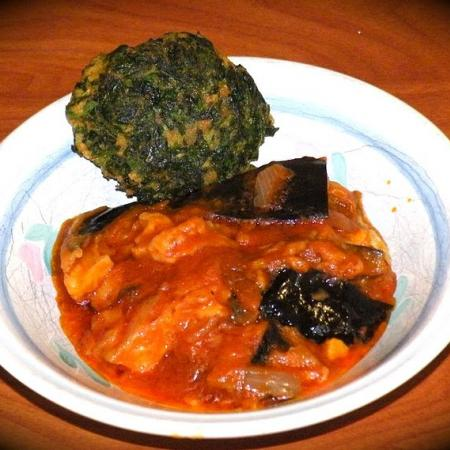 Spinach ball and eggplant stew