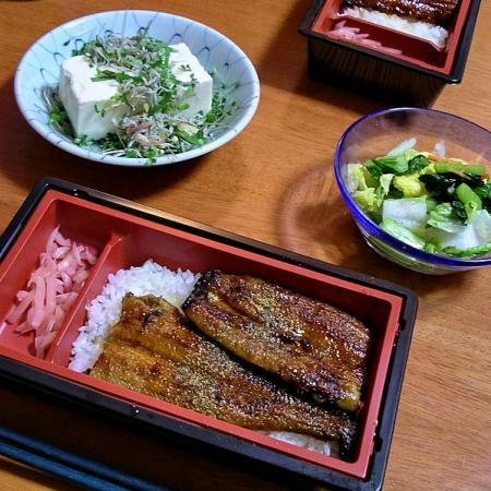 Unaju bento, hiyayakko and tsukemono