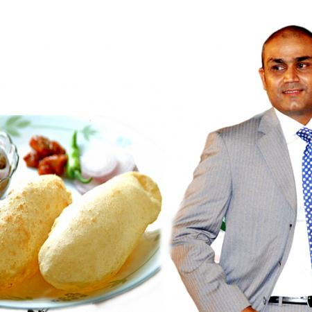 Sehwag With Chhole Bhature