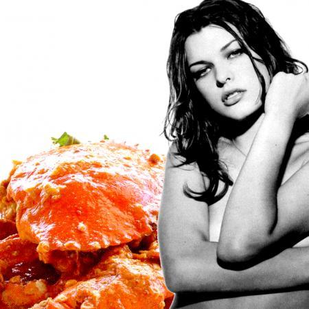 Milla Jovovich with Crab Food