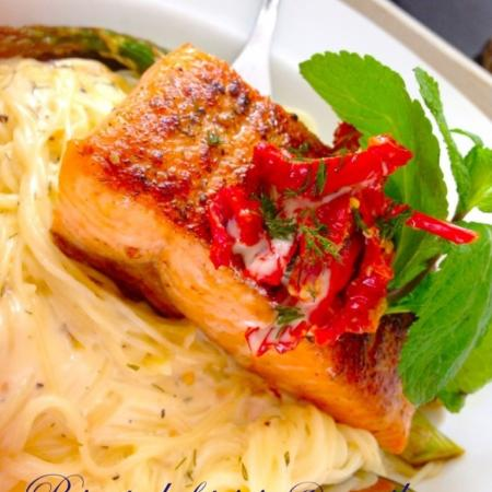 Salmon with a Caribbean Rum Sauce and creamy dill angel hair pasta❤