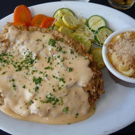 Chicken fried steak with Baked Macaroni