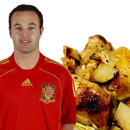 Andres Iniesta with Chicken with Potatoes