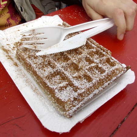 Waffle with plastic cutlery