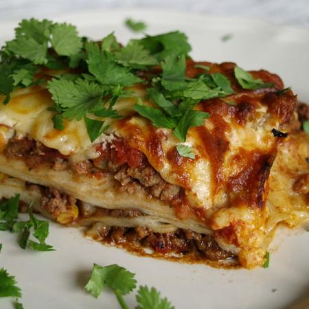 Mexican lasagne with parsley