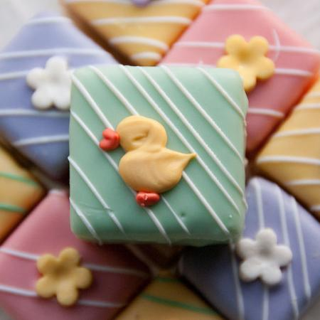 Yellow duck on Easter petits