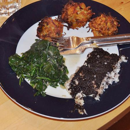 spinach and root-rösti