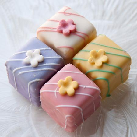 Colourful Easter petit fours