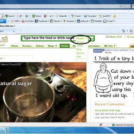 Browsing Recipe From Site Homepage Select From The Drop Down