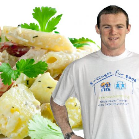 Wayne Rooney with Half Price Chicken Salad and Spaghetti