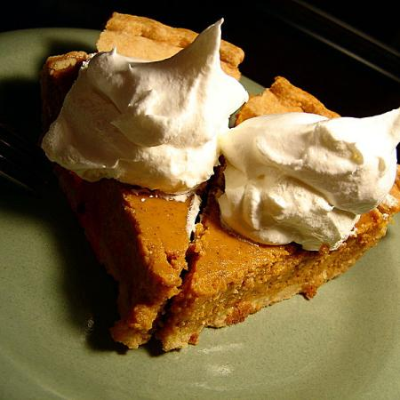 two pieces of pumpkin pie