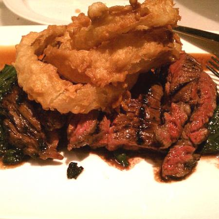 AsianMarinated Steak With Onion Rings