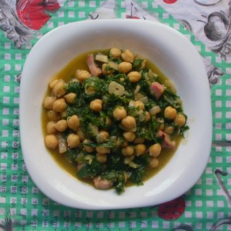 Chick pea and Silene vulgaris stew