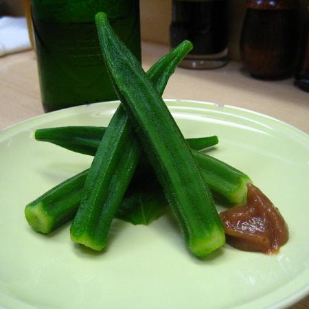 Okra with umeboshi paste