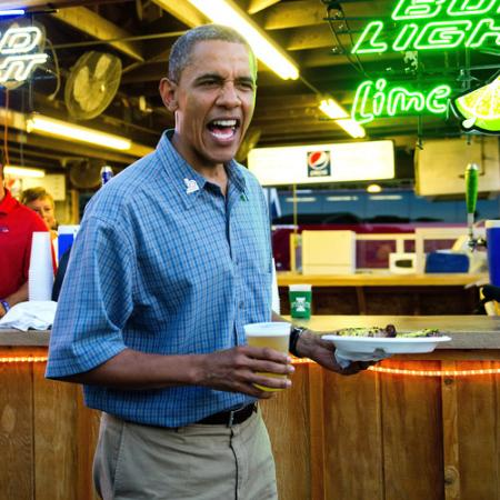 President Obama Indulges in Pork Chops and Beer in Iowa State Fair