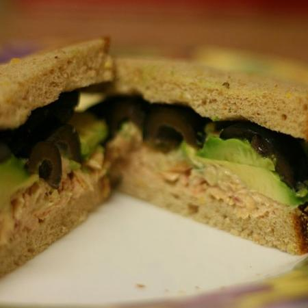Tuna Olive and Avocado Sandwich