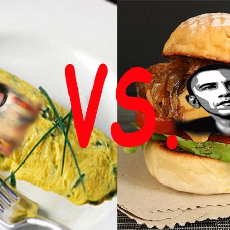 Obama Burger Vs. Romney Omelet : Who Wins The Big Fight ?