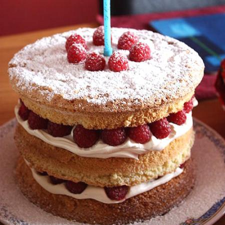 Raspberry and cream sponge birthday cake