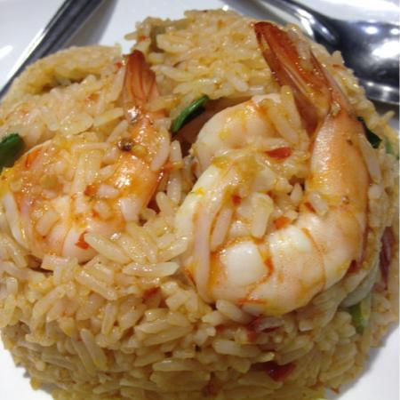 Tomyum style fried rice with shrimp