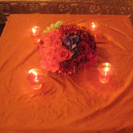 Indian Wedding Decoration - Table with Candles and Flowers