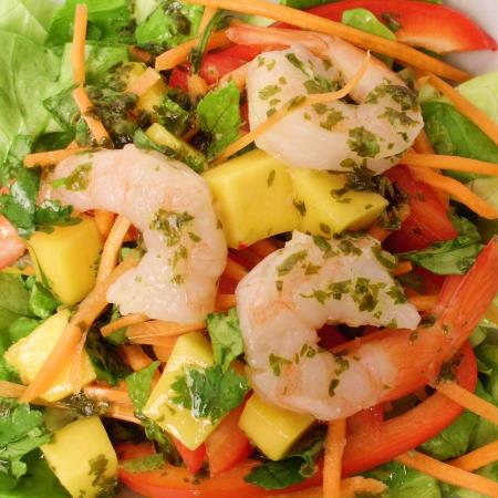 Spicy Shrimp and Mango Salad with Honey Lime Cilantro Dressing