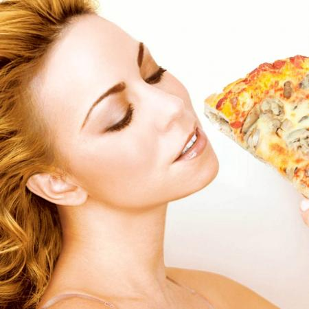 Mariah Carey with Pizza