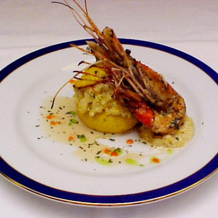 Grilled Scampi With Baked Squash
