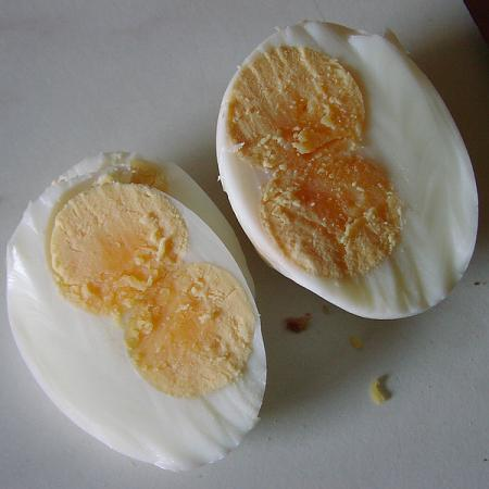 Boiled double yolked eggs