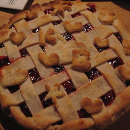 Lattice cherry pie with pastry shell