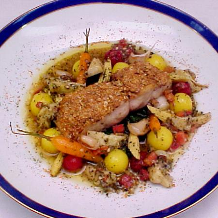Mustard Seed Crusted Snapper With Artichoke Vinaigrette