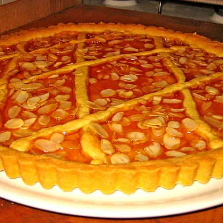 Crostata With Peach Jelly and Slivered Almonds