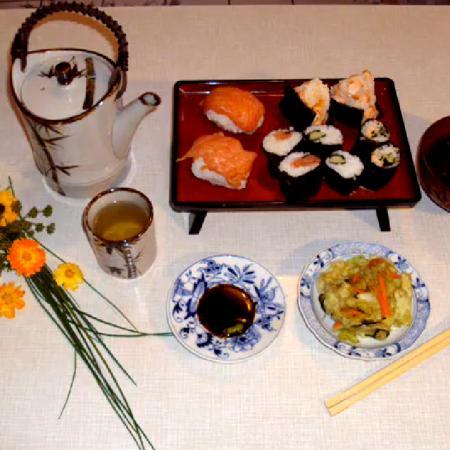 Homemade Salmon Sushi, Nori Maki, Onigiri, Miso Soup