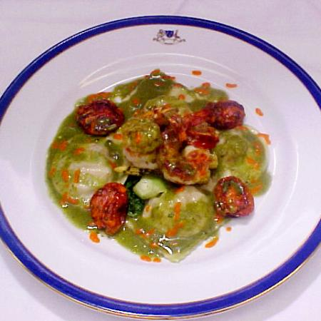 Prawn Ravioli With Pesto Sauce