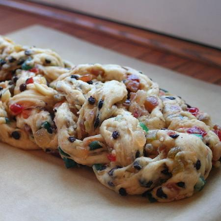 Stollen with candied fruits and nuts