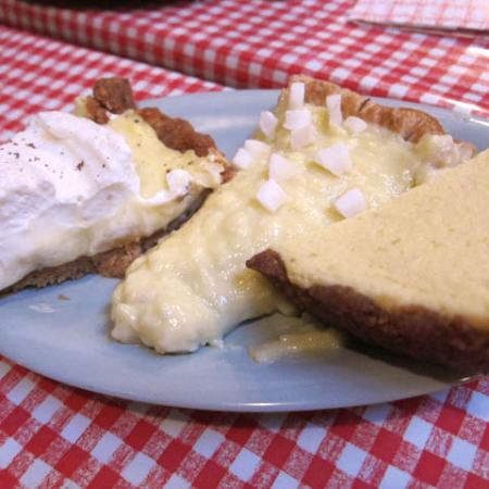 Key lime pie with coconut cream pie