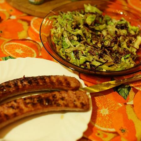 Beerwurst with iceberg salad