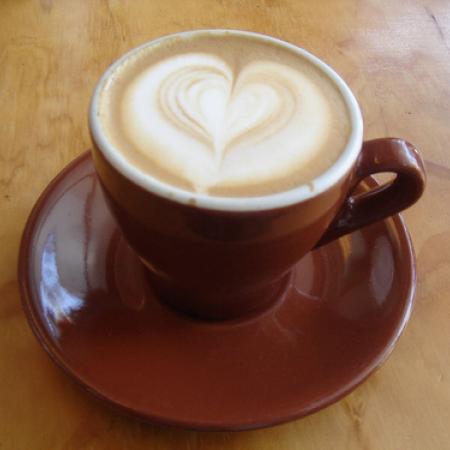 Wet Cappuccino with heart latte art