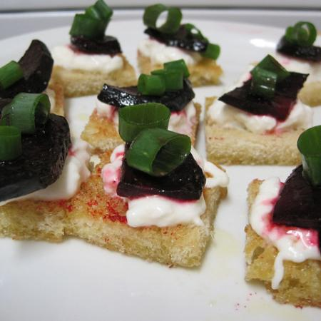 Beet-and-Burrata Crostini