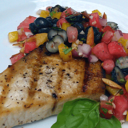 Grilled Swordfish with Thai Style Summery Salsa