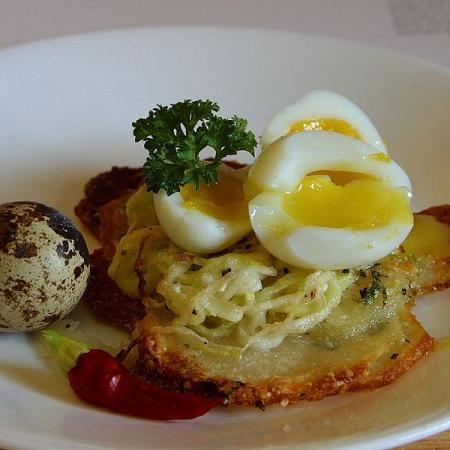 Potato galettes with quail eggs
