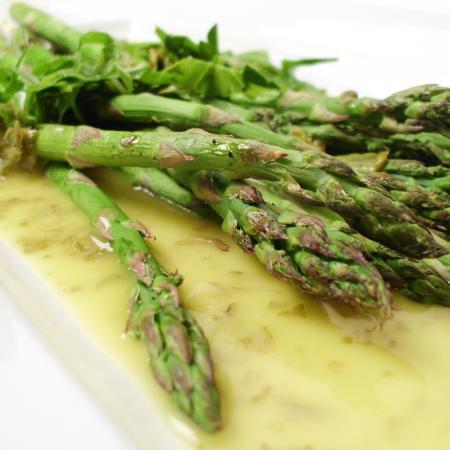 Herb Lemon Olive Oil Dressing on Asparagus