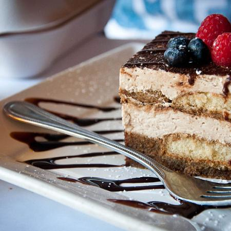 Tiramisu with blueberries and raspberries
