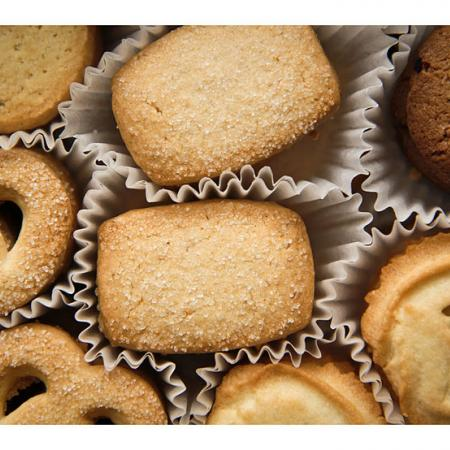 Danish butter cookies in container with wrappers