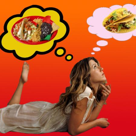Jennifer Aniston with Mexican Food