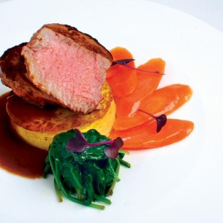 Veal steak with vegetables