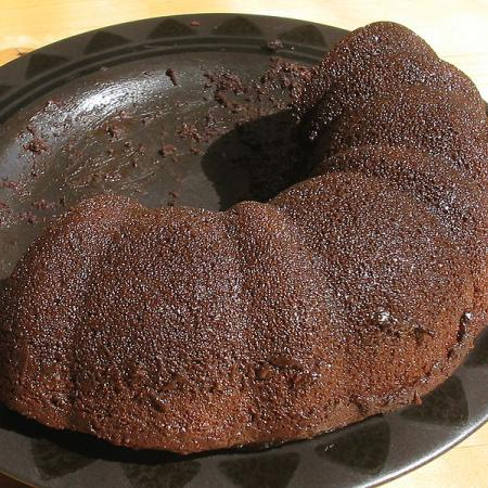 Half a chocolate Bundt cake