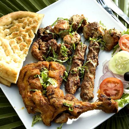 Chicken Tikka with Chicken Tandoori, Bread and Salad