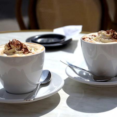Viennese coffee served on the terrace