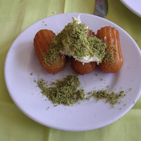Tulumba With Kaymak And Pistachio